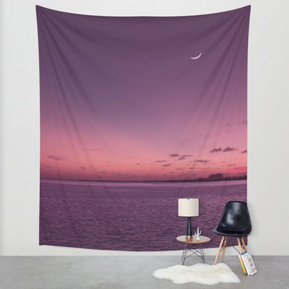 Ocean tapestry, purple tapestry, large wall art, tapestry wall hanging, sunset, wall hanging, purple home décor, twilight, outdoors tapestry by SophieMakesFabrics on Etsy