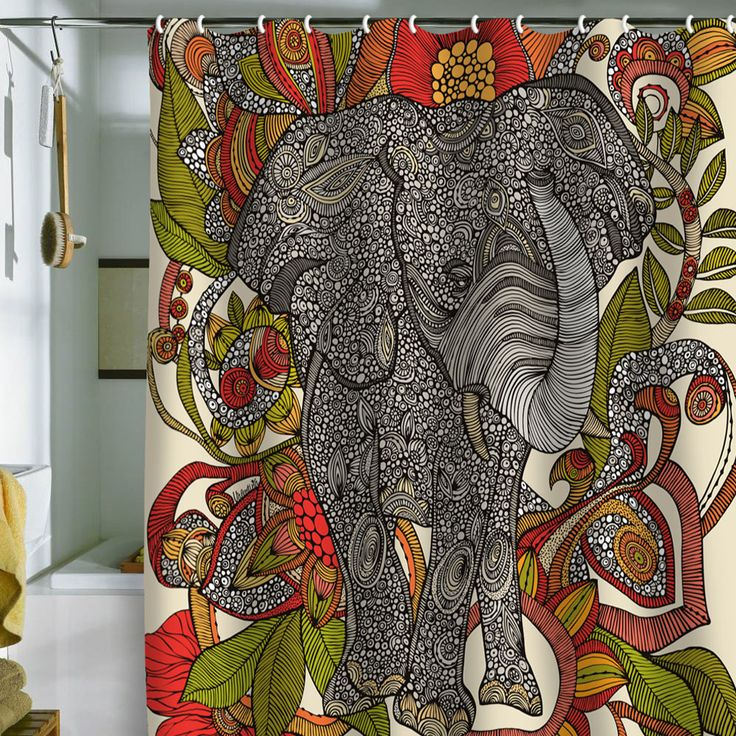 DENY Designs Valentina Ramos Bo The Elephant Shower Curtain
