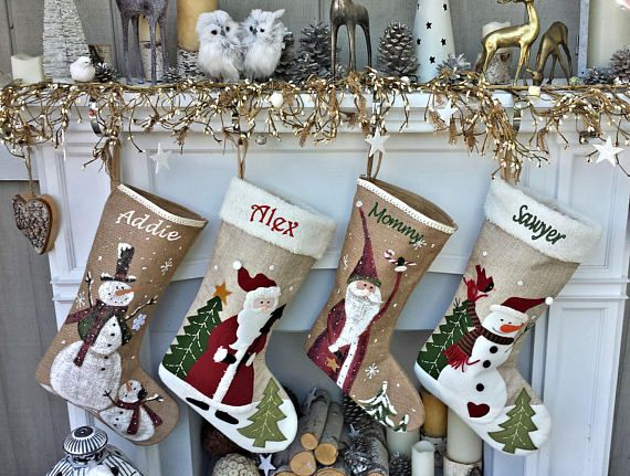 19 5 Whimsical Polar Fleece Childrens Christmas Stockings Burlap Painted Christmas Stockings Personalized Christmas Stockings Embroidered Christmas Stockings