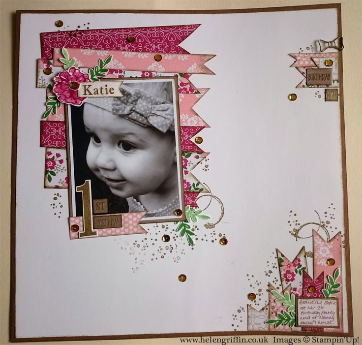 Katie 1st Birthday scrapbook layout by Helen Griffin