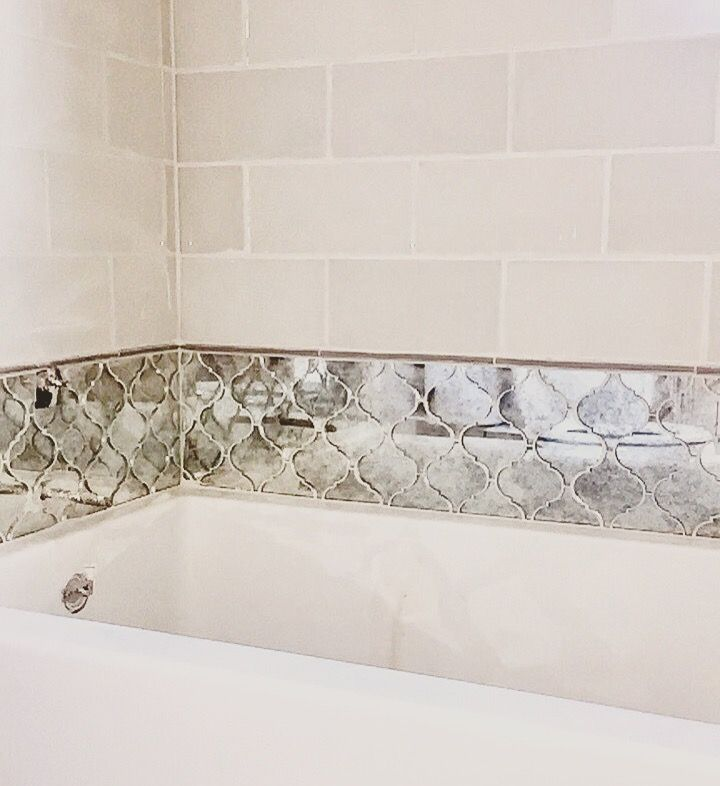 ivory subway tile paired with mirrored arabesque tile all thatu0027s missing is a few candles