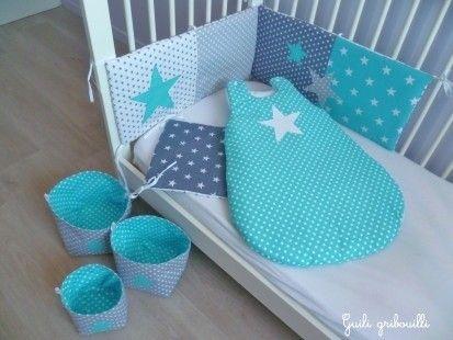 EN STOCK tour de lit et gigoteuse étoile gris blanc bleu : Linge de lit enfants par guiligribouilli