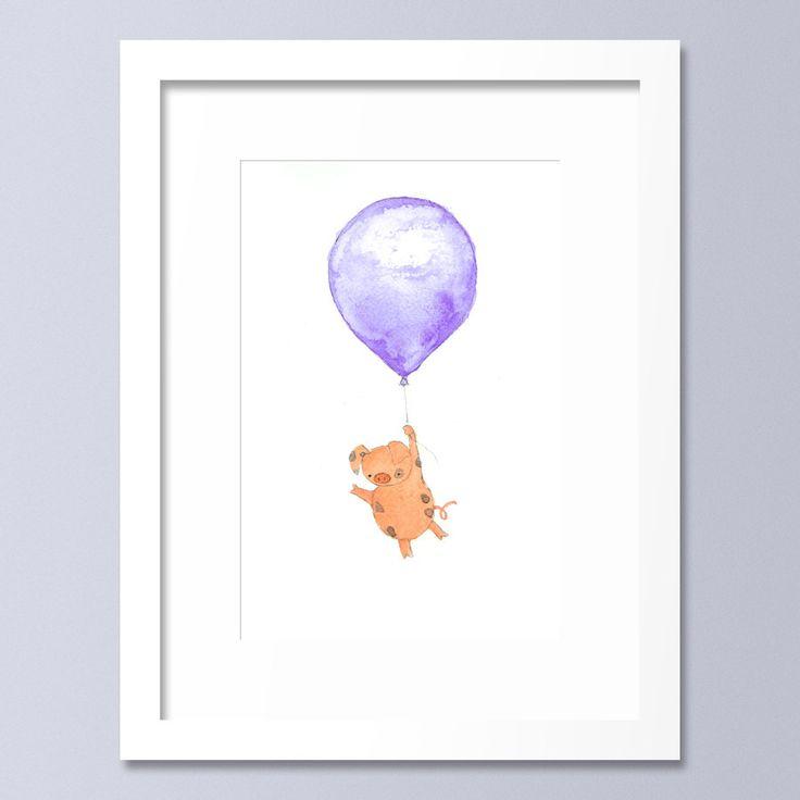 Balloon Print, Nursery Art, Pig, Children's Room, Nursery Decor, Kid's Art, Purple, Animal Print, Wall Art, Kid's room, Baby Boy Nursery by OneLittleBundle on Etsy