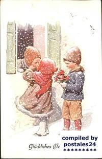 60813784 Neujahr Kinder Kuss / Greetings /