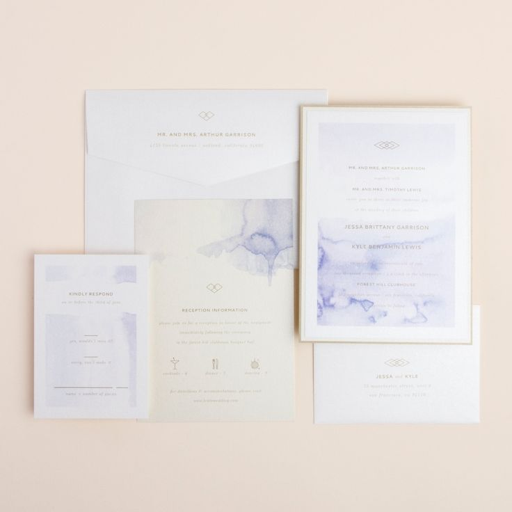 Serendipity wedding invitation suite lavender watercolor brushstroke, layered card with champagne cream, and bronze metallic, many color variations  available