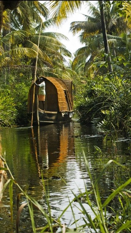 Tour the backwater lagoons, lakes, and canals of Kerala in Southern India by houseboat.