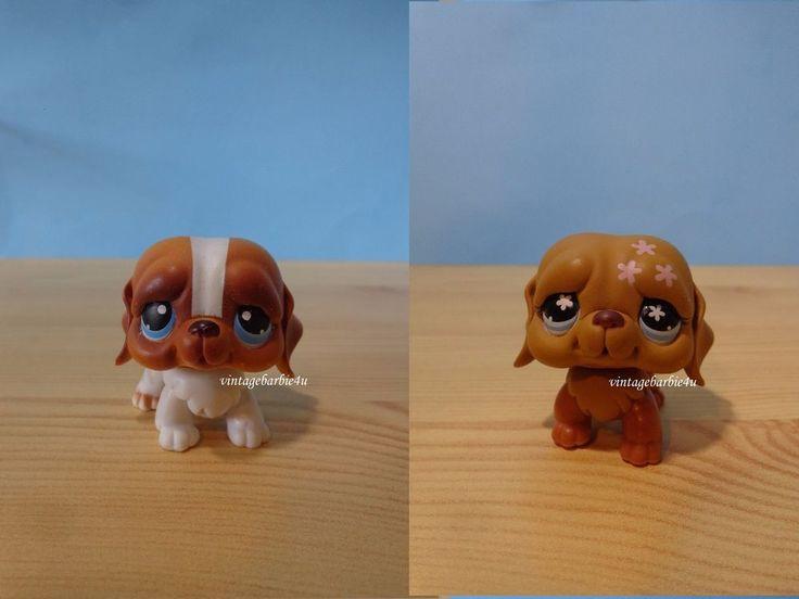 Littlest Pet Shop LPS #76 #481 Saint Bernard Blue Flower Eyes Dog Puppy Lot #Hasbro