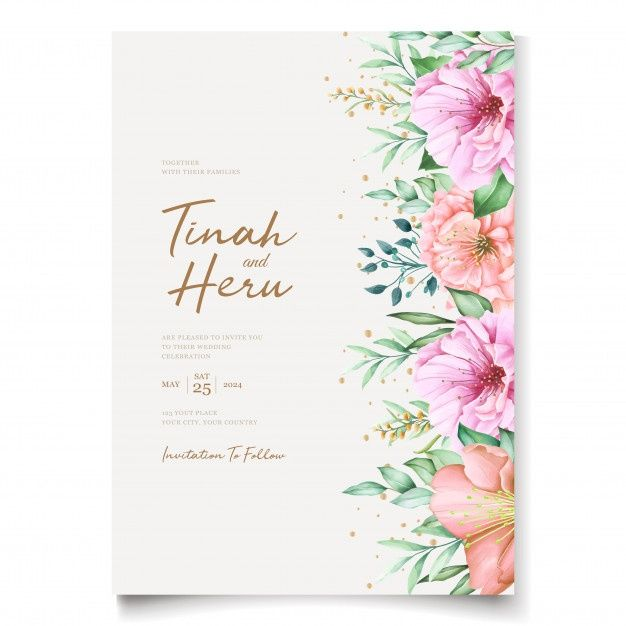Download Elegant Wedding Invitation Cards Template With Watercolor Cherry Blossom Design For Free Elegant Wedding Invitations Elegant Wedding Invitation Card Flower Wedding Invitation