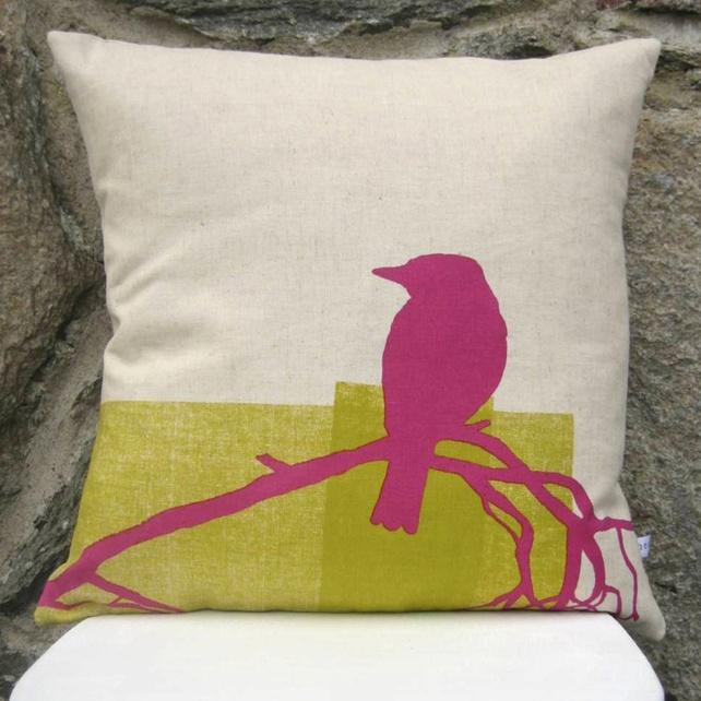 Organic Hemp Bird Print Cushion by Peris & Corr