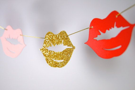 Lips Paper Garland, Make up Themed Shower,  Bridal Shower, Baby Shower, Party Decorations, Birthday Decor