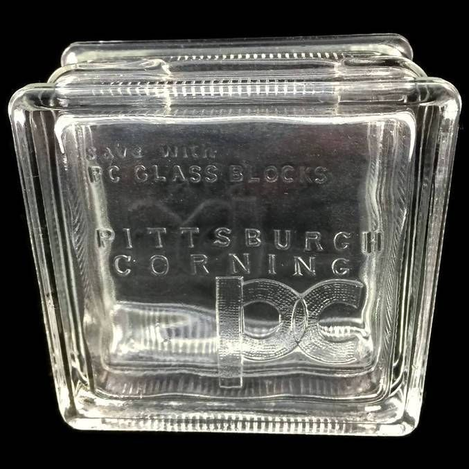 vintage pittsburgh corning glass bank pc small glass block advertising still bank rare
