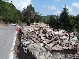 Rubble after the explosion in Osteria Camugnone, Vergato, near Bologna, Italy