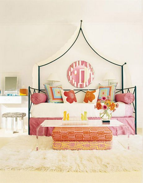 Draped fabric adds a focal point above the bed: Little Girls, Design Guild, Color, Girls Bedrooms, Coff Tables, Bedrooms Idea, Girls Rooms, Canopies, Kids Rooms