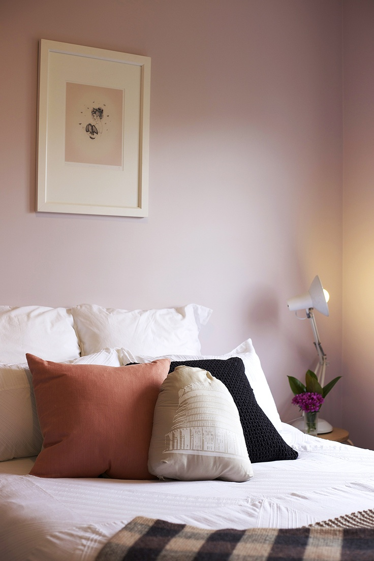 Home Staging by Places & Graces. Bedroom. Purple, Mauve. Walls, Resene. 'Girl' art print by Sarah McNeil, endemicworld.com. Linen, Country Road and Citta. Suplerlux light.