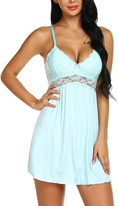 Ababoon Women Lace Modal Sleepwear Chemises V-Neck Full Slip Babydoll  Nightgown at Amazon Women s Clothing store  a6aed850e