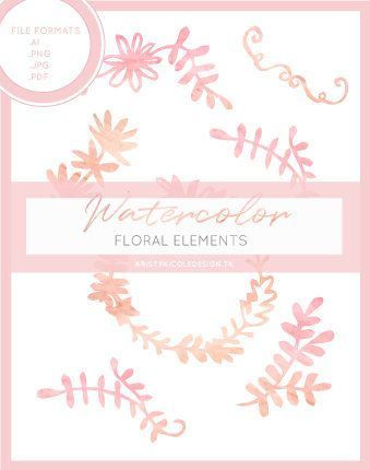 Watercolor Floral Elements by kristynicoledesign on Etsy