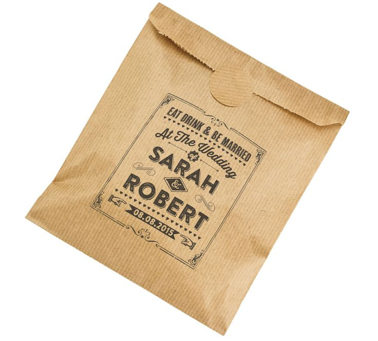 Personalised wedding paper bags - brown kraft vintage favour party sweets - EDM
