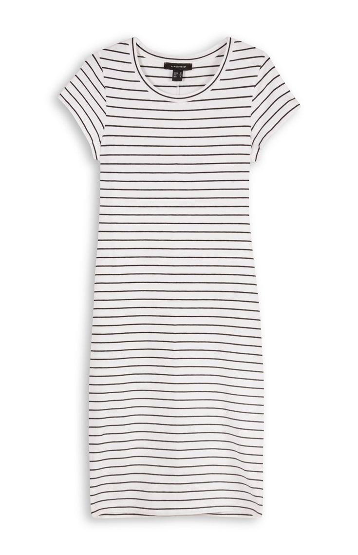 Primark - Nauwsluitende witte jurk met strepen