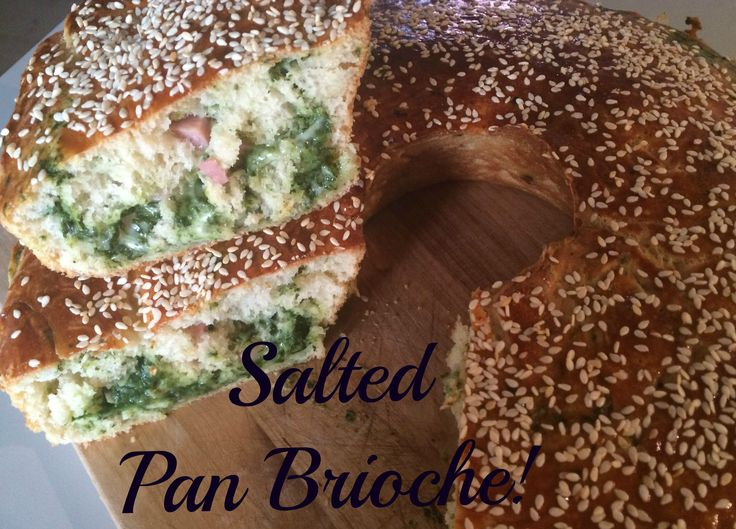 Soft and tasty, salted Pan Brioche is ideal for a dinner or a buffet party!!!  This Pan Brioche can be stuffed as you like, with vegetables, meats and cheeses: today I used spinach, ham, mozzarella and spicy salami.  Hope you like!!! :D :D