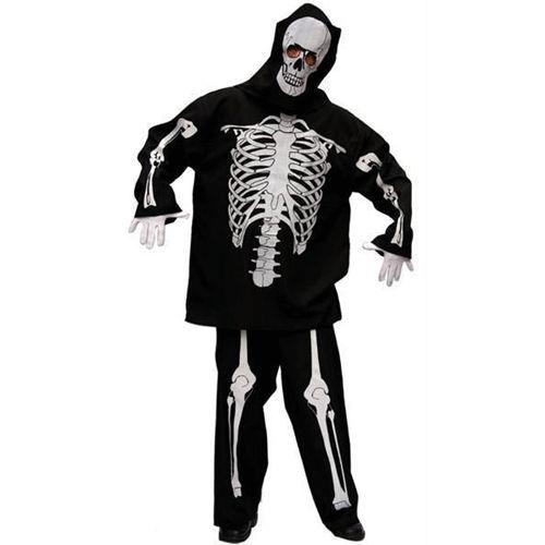 Geraamte pak heren  Skelet kostuum voor heren. Een 3-delig skelet kostuum. Dit kostuum is compleet met een broek een shirt en een kap voor over het hoofd. Het skelet kostuum is een zwart kostuum met de afbeeldingen van botten. In het hoofd zitten 2 gaten waar u doorheen kunt kijken.  EUR 22.99  Meer informatie
