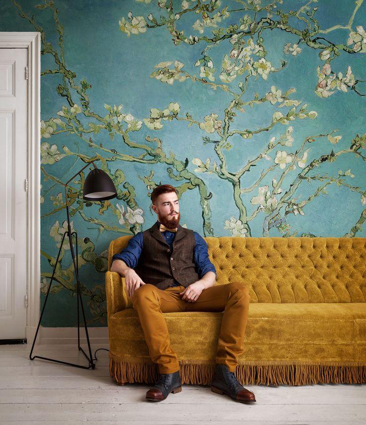 Fotobehang Amandelbloesem / Photo Wallpaper Almond Blossom collection Van Gogh - BN Wallcoverings. Kom langs bij onze winkel in Rijswijk om de mogelijkheden te bekijken!