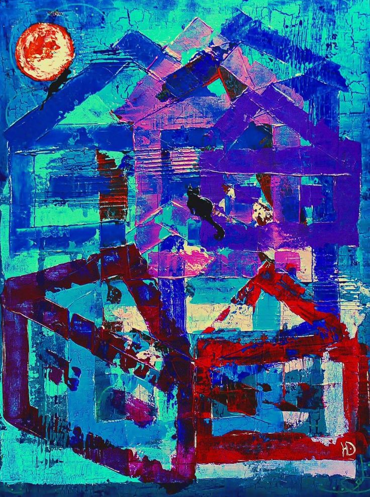 "Erokhin Valery on Twitter: """"Cats with the moon on the roof of house"", 60х80, acrylic on canvas on cardboard, 2016, artist Yulia Erokhina https://t.co/Jpe6tEeQa9"""