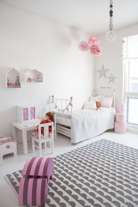 White and pink girls room