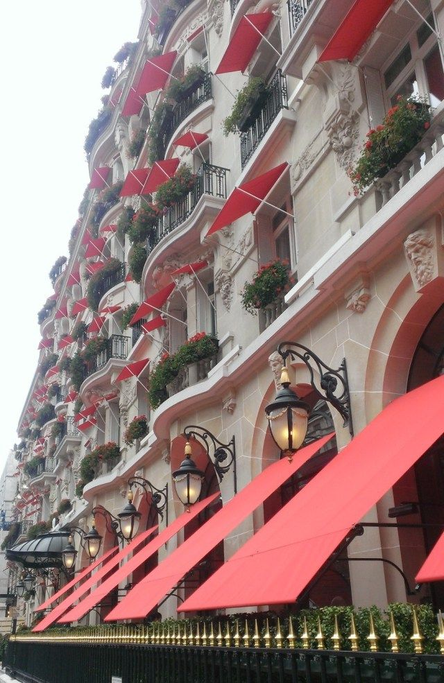 Palace parisien, Plaza athénée, géraniums rouge, avenue Montaigne - Chambre - hôtel - Luxe - Paris - décorations.