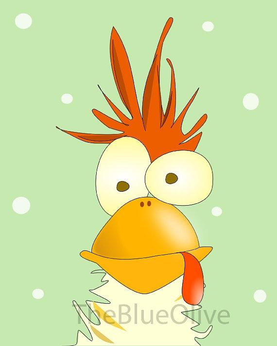 Art print mad chicken