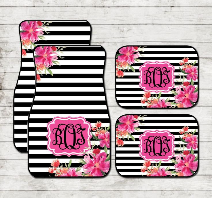 Floral Stripe Car Floor Mats Monogrammed Car Mats Black Striped Monogram Carmats Car Floor Mats Custom Car Accessories For Her Car Decor by ChicMonogram on Etsy