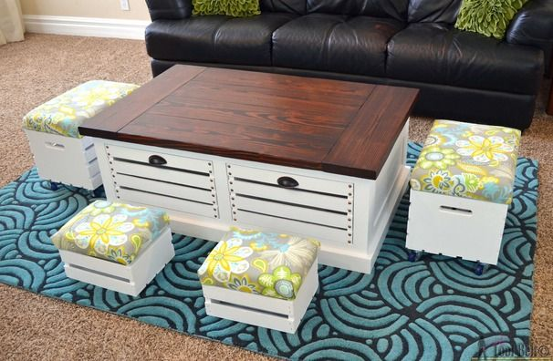 Crate Storage Coffee Table - so cute, practical, and chic: you can't go wrong! #diy #ryobination