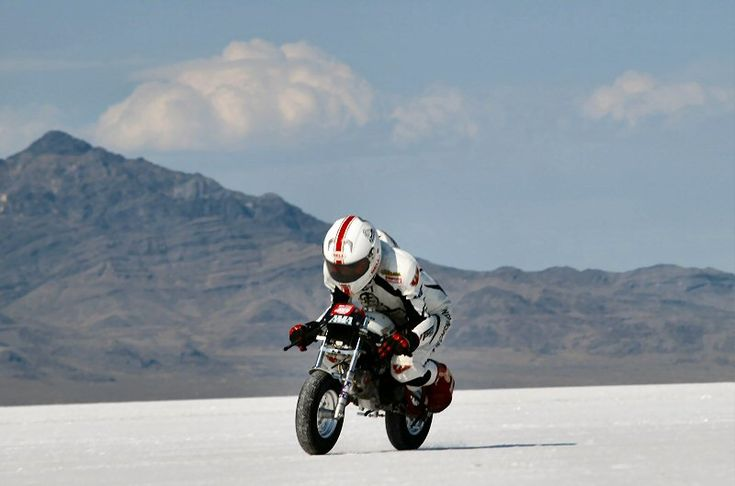 Ivo rides the world's fastest (97.45 mph) honda monkey bike on the Bonneville salt flats