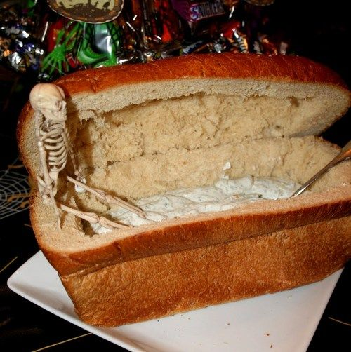 DIY Bread Coffin for Dip. There is no other source than Pinterest. There is no tutorial, but none is really needed. For more Halloween food like the spiderweb cake, ladys' fingers, or the Brie Coffin Cheese Cemetery go here.
