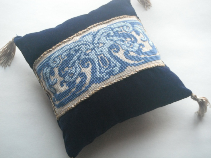 Mediaeval Inspired Navy Velvet and  Blue Cross-Stitched 'Carved Head' Accent Pillow. $65.00, via Etsy.