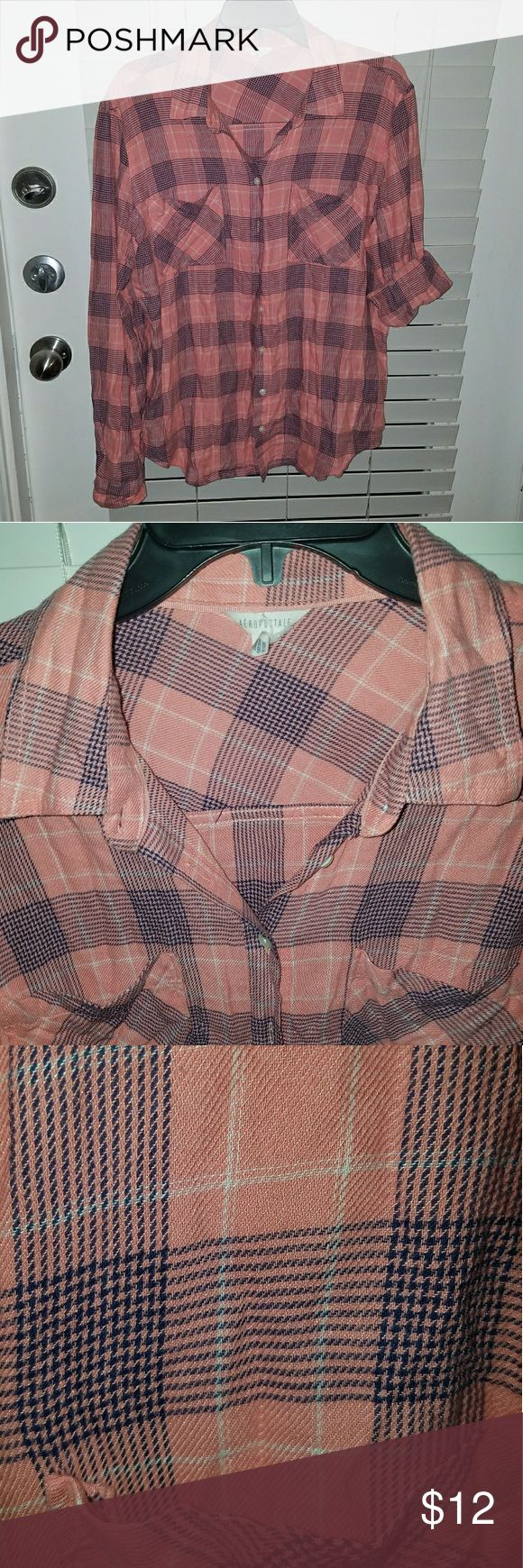 Aeropostale Button down shirt A dusty rose & navy plaid button down shirt that I got from Aeropostale. Wore it maybe once or twice. In a very good condition Aeropostale Tops Button Down Shirts