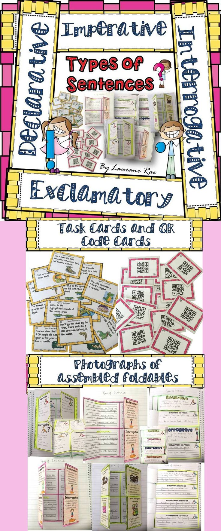 If you are looking to target differentiation in your classroom and provide your students with activities suitable to their needs, then this resource will prove handy. The 5 different interactive notebook foldables and 20 task cards and QR Code Cards focus on teaching the four types of sentences: DECLARATIVE, IMPERATIVE, INTERROGATIVE, and EXCLAMATORY. Not only will your students find this grammar lesson fun, but also meaningful.