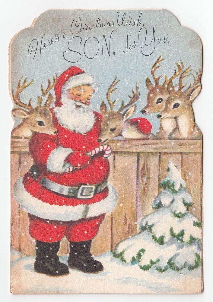 Vintage Greeting Card Christmas Santa Claus Reindeer Deer Stable Rust Craft