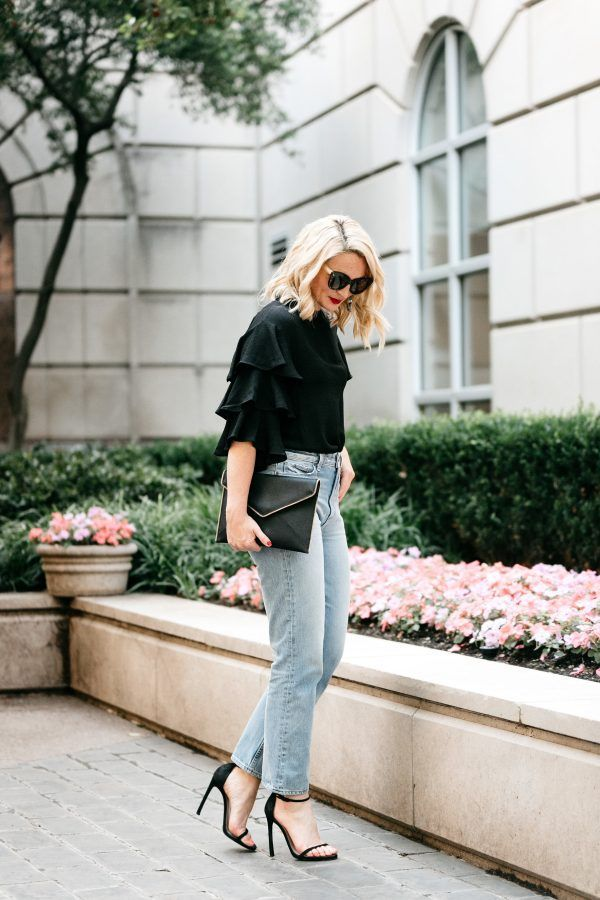 how to wear high waisted denim, high waisted denim outfit, statement sleeve outfit, tuckernuck style, light denim and black top look