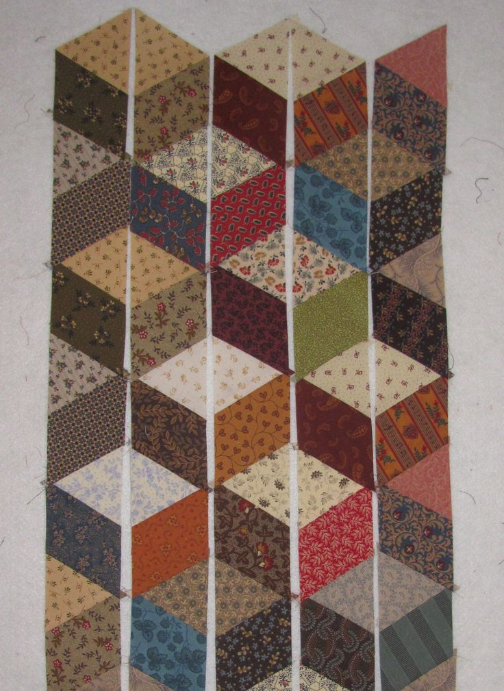 tumbling blocks quilt pattern no y seams - Google Search