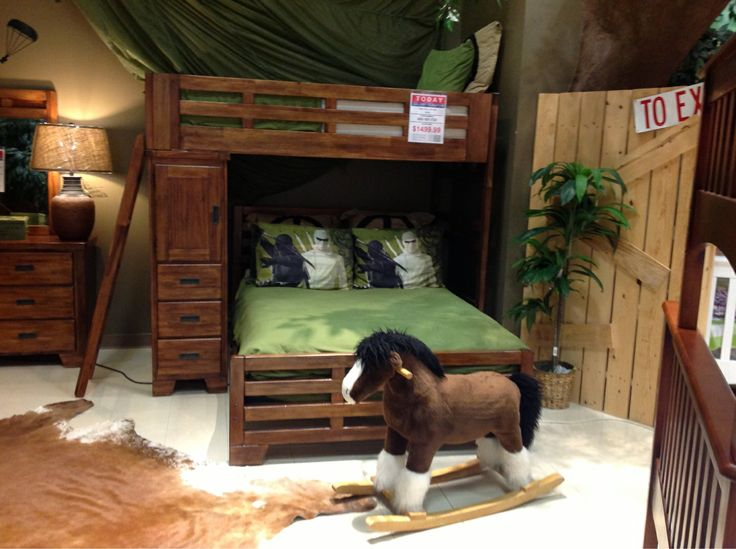 every little boy can live like a cowboy in this western theme bunk bed set