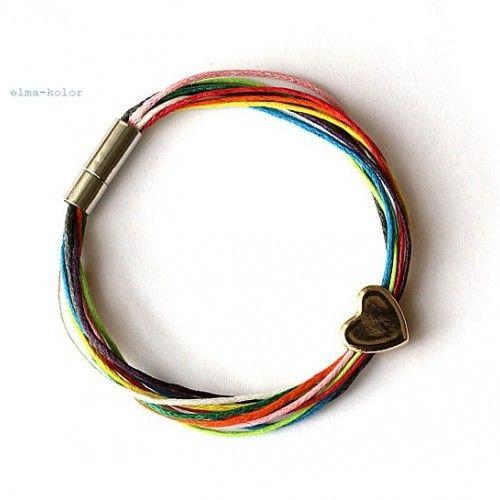 bransoletka serce w kolorach tęczy