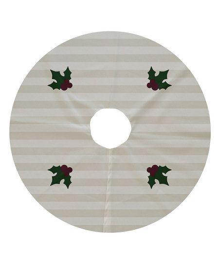 Holly Tones Ivory Decorative Tree Skirt