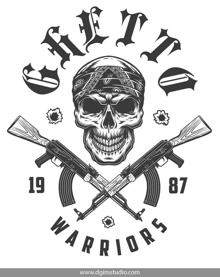 Vintage Monochrome Gangster Skull In Bandana And Crossed Machine Guns Click To The Link And Find More Gangster Elements Ba Gangsta Tattoos Gangster Skull Art
