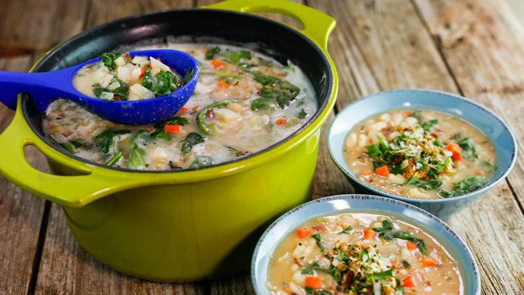 White Bean and Bacon Soup with Garlicky Breadcrumbs