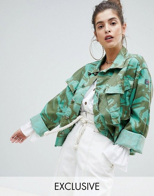 1b2f661241265 Reclaimed Vintage revived cropped overdyed camo jacket | what i saw ...