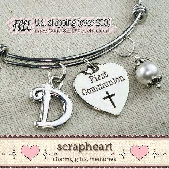 FIRST COMMUNION Gift Girls First Communion Bracelet by ScrapheartGifts