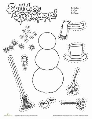 Winter First Grade Paper Projects Worksheets: Build a Snowman