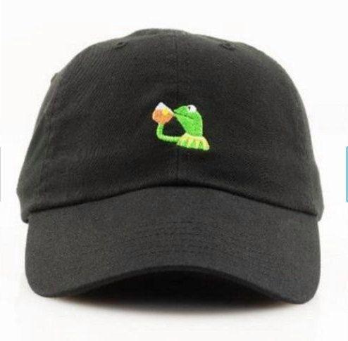 Tea Lizard Kermit None of my Business Strapback Hat Sipping Tea Meme Adjustable Cap Lebron James Championship hat