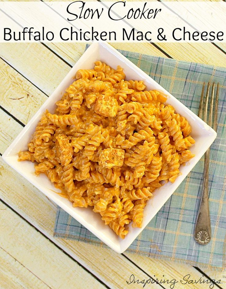 Buffalo Chicken Mac and Cheese is a great dish that is super easy to make in your Slow Cooker!  Everyone loves this spicy and savory dish for dinner!