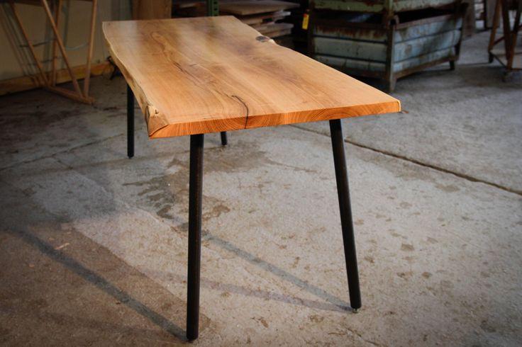 RUSTIC DINING TABLE, Natural Acacia Dining Table,  On Original Adjustable Steel Rod Legs, Modern, Industrial, Handmade, Home Furniture by HardmanDesignBuild on Etsy https://www.etsy.com/se-en/listing/240634468/rustic-dining-table-natural-acacia
